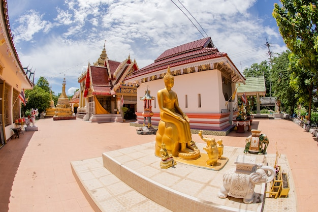 Gold buddha image outdoor in temple