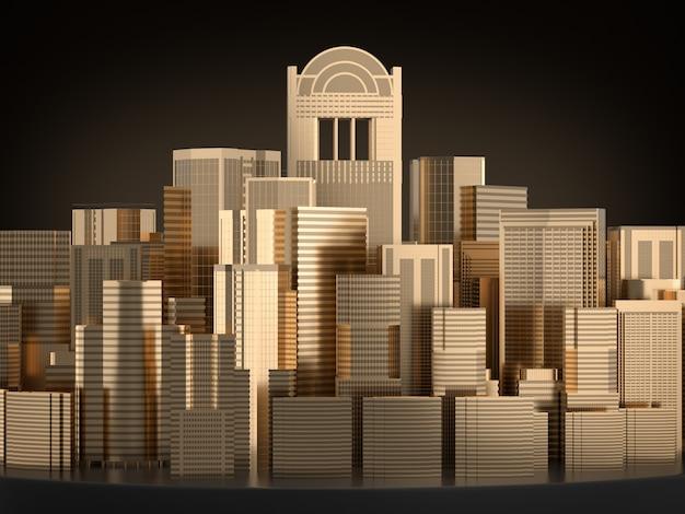 Золотая модель здания, золотой город.3d рендеринг