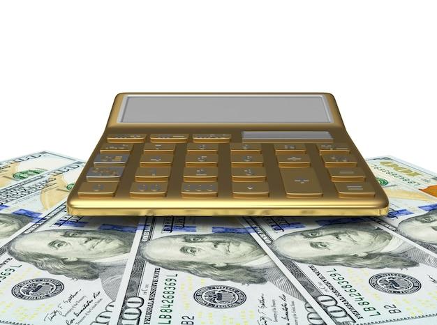 Gold calculator on dollar bills