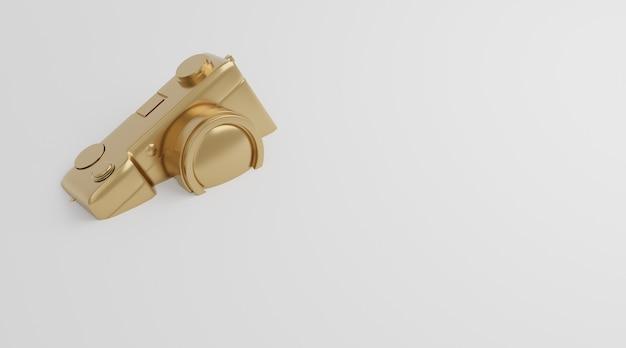 흰색 배경, 기술 개념에에서 골드 카메라 드롭. 3d 렌더링