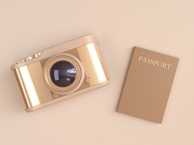 Gold camera glossy reflection and brown passport on cream minimal style 3d render