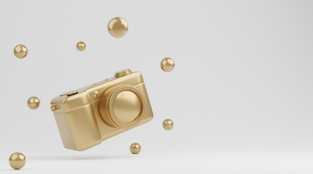흰색 배경, 기술 개념에 골드 카메라입니다. 3d 렌더링