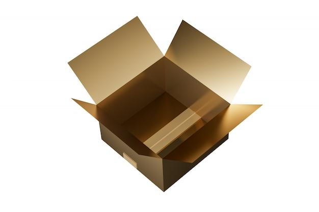 金の段ボール箱のモックアップ。白い背景で隔離されました。梱包箱の画像のモックアップ。 3dレンダリング
