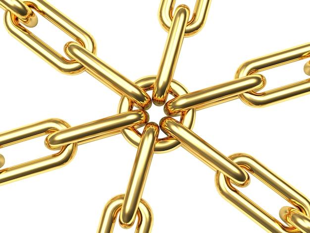 Золотые цепочки, соединенные звеном