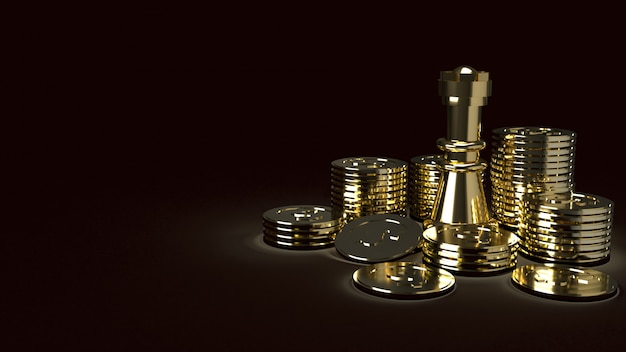 Gold chess and coins abstract image 3d rendering for business content
