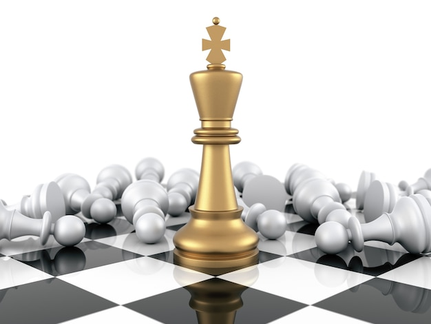 Gold chess king winning on white pawns. three dimensional rendering