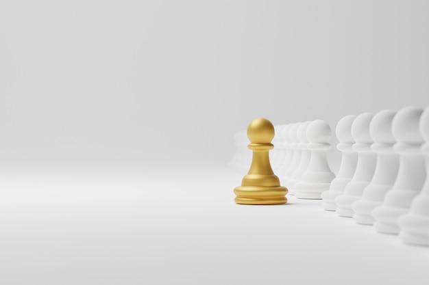 Золотые шахматы среди групп. лидер, уникальный, думай иначе, индивидуальный и выделяющийся из толпы. 3d иллюстрация