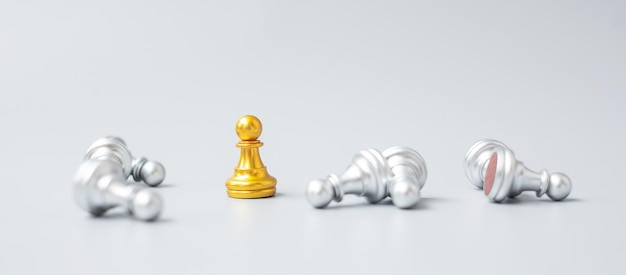 Gold chess pawn figure stand out from crowd of enermy