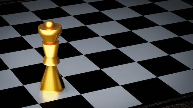 Золотая королева шахмат на клетчатой доске