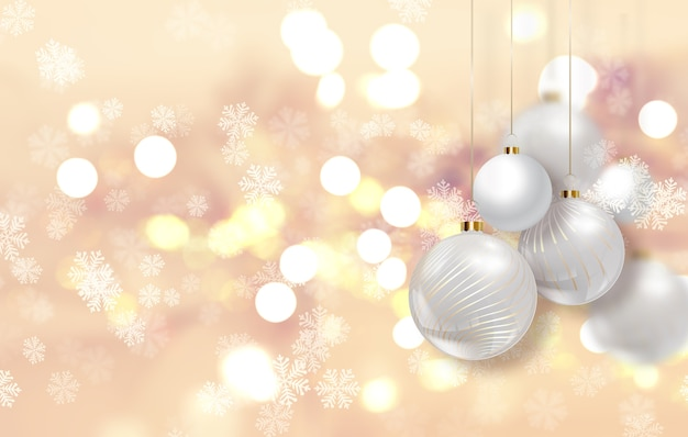 Gold christmas background with hanging baubles