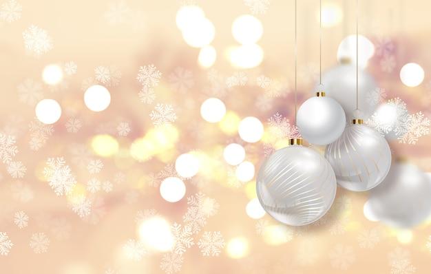 つまらないものがぶら下がっているゴールドのクリスマスの背景