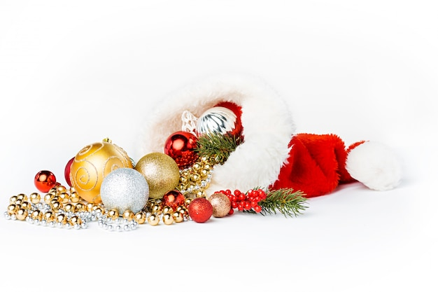 Gold christmas balls isolated