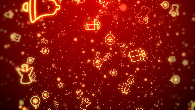 Gold christmas decoration and particles bokeh on red
