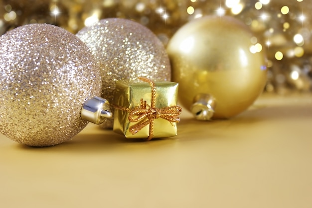 Gold christmas decorations and gift