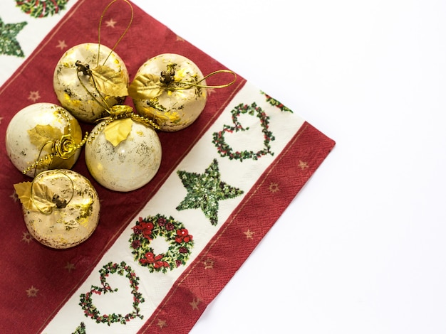 Gold christmas and new year decoration with flower. holiday background.