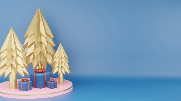 Gold christmas tree and close classic blue gift box with red ribbon on pink circle podium