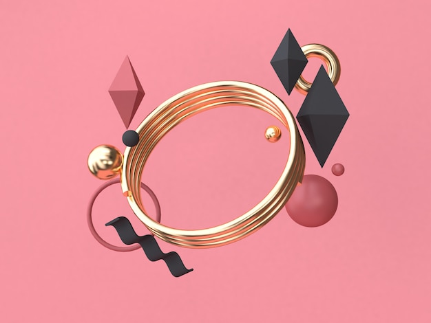 Gold circle 3d rendering red-pink background minimal abstract geometric shape floating