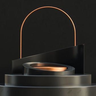 Gold circle podium for product presentation on black concrete wall luxury style.