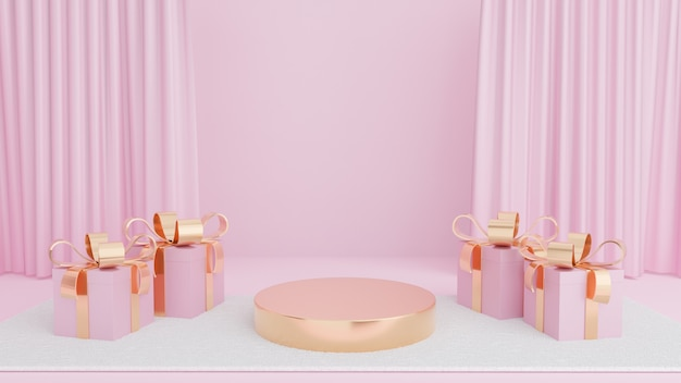 Gold circle stage with gift box gold ribbon on white carpet and pink curtain