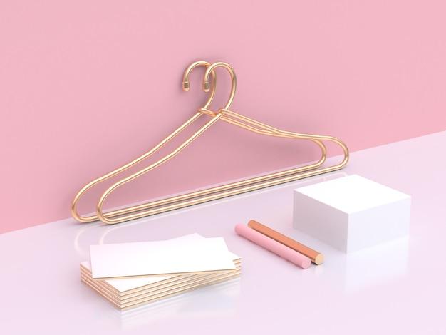 Золотая вешалка вешалка абстрактная сцена розовый белый бизнес концепция моды пустой