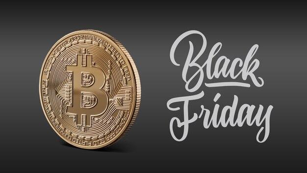 金貨ビットコイン、書道のテキストはブラックフライデーです。暗号通貨市場の崩壊の概念、