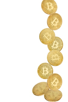 Gold coin of bitcoin in levitation on white