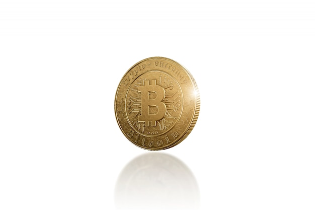 Gold coin bitcoin on white
