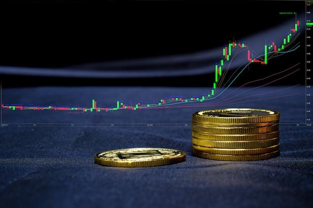 Криптовалюта золотая монета на фоне компьютерной торговой диаграммы