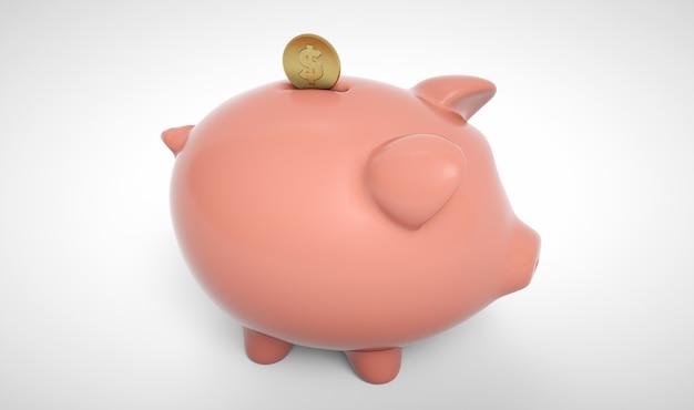 Gold coin falling into a piggy bank