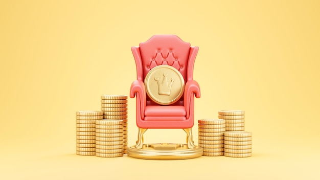 Gold coin on red chair is surrounded by stacked coins