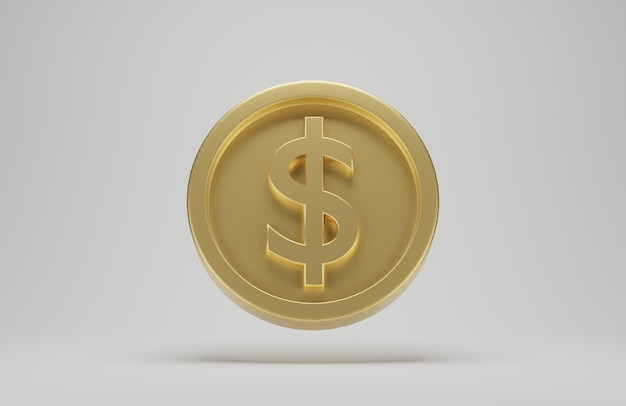Gold coin with dollar sign on white background. 3d rendering.