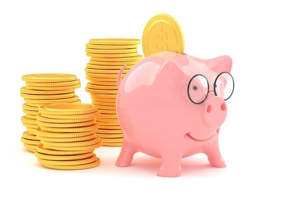 ビジネスの成功と収入の利益の金貨と貯金箱
