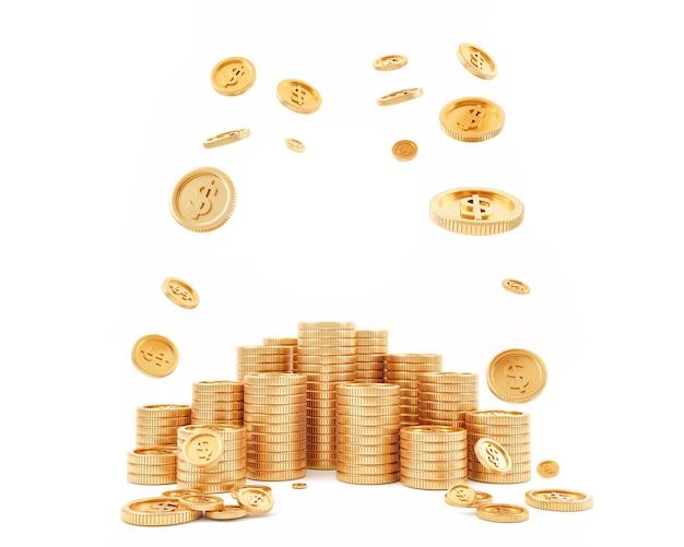 Золотые монеты наличные деньги в стопках изолированного на белом фоне