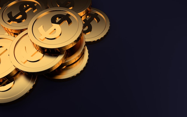 Gold coins on dark background,