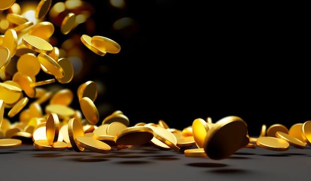 Gold coins falling on black 3d render