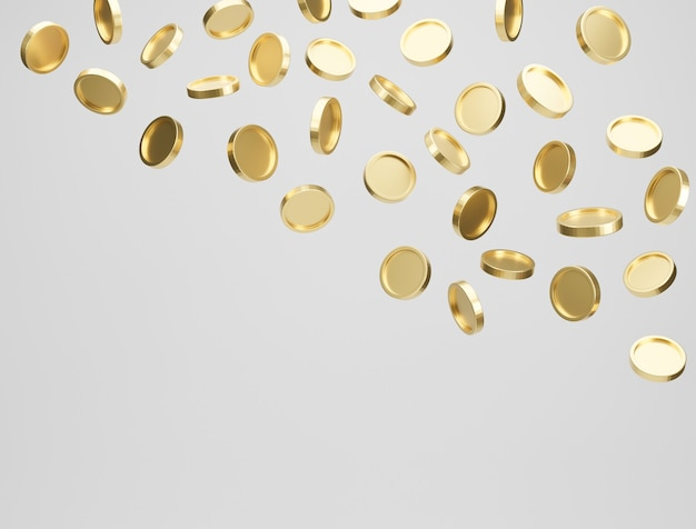 Gold coins falling or flying on white background. jackpot or casino poke concept. 3d rendering.