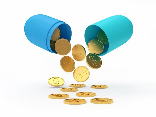 Золотые монеты падают из открытой медицинской капсулы