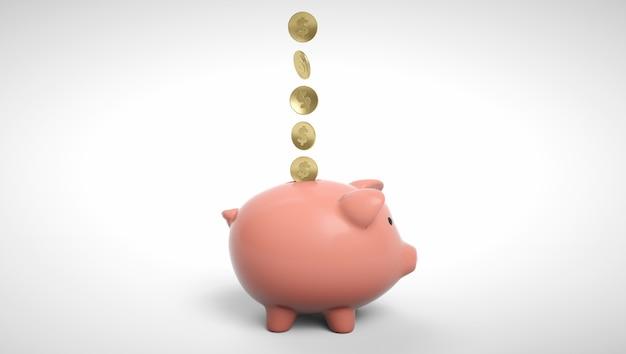Gold coins falling into a piggy bank