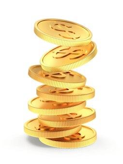 Золотые монеты падают на стек
