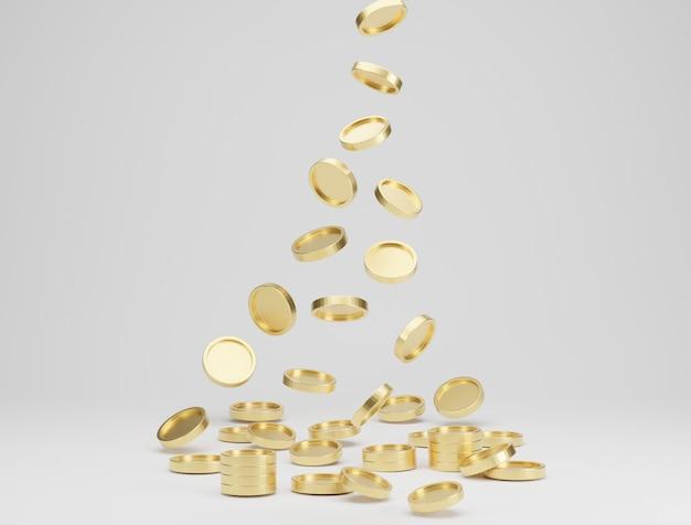 白い背景の上に落下または飛んでいる金貨。ジャックポットまたはカジノポークのコンセプト。 3dレンダリング。