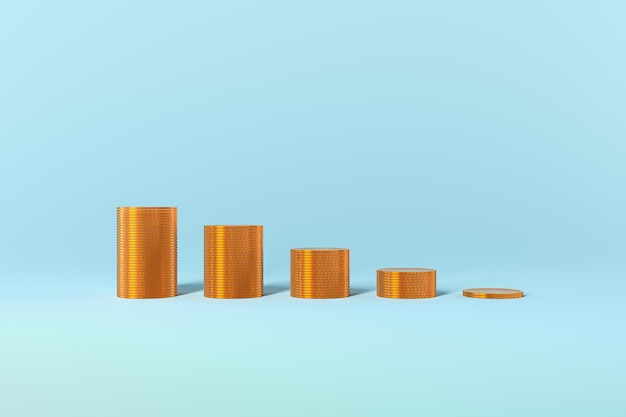 Золотые монеты график роста налогов на прибыль ссуд на синем фоне. фото высокого качества