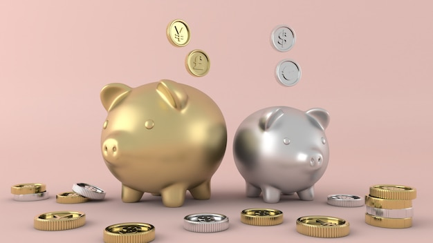 Gold coins isolated money, 3d rendering