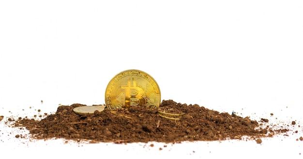 Золотые монеты или биткойны на земле виртуальные деньги. концепция будущих инвестиций
