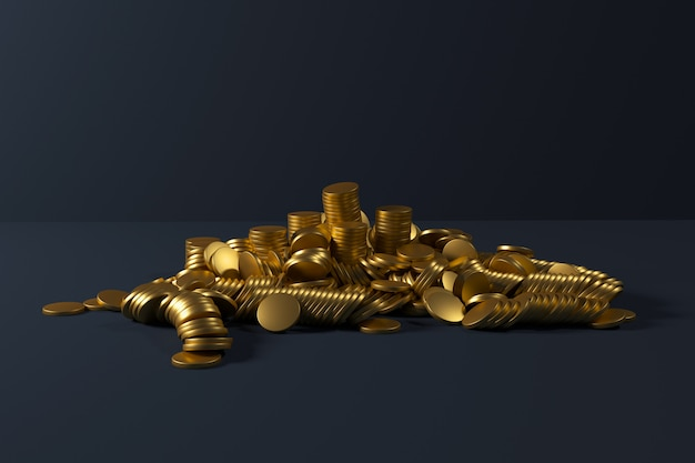 Gold coins stack falling on blue color