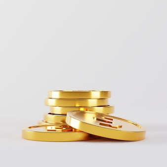 Gold coins stack falling on white.