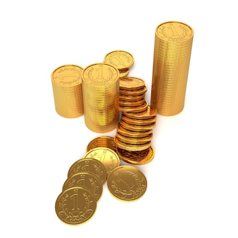 Gold coins on a white background. 3d illustration