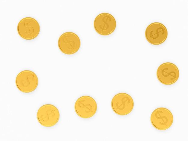 白のドル記号と金貨