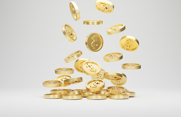 Gold coins with dollar sign falling or flying isolated on white background. jackpot or casino poke concept. 3d rendering.