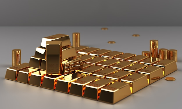 Gold and coins with money currency and marble texture geometric 3d rendering