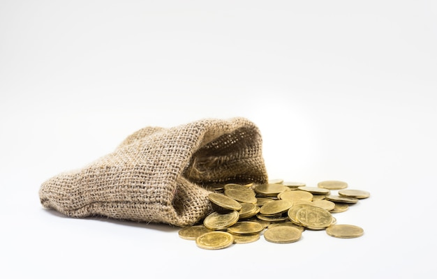 Gold coins with sack bag on with white background
